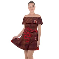 Awesome Chinese Dragon, Red Colors Off Shoulder Velour Dress by FantasyWorld7