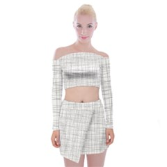 Abstract Lines Off Shoulder Top With Mini Skirt Set by tarastyle