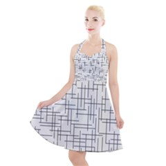 Abstract Lines Halter Party Swing Dress  by tarastyle