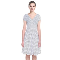 Abstract Lines Short Sleeve Front Wrap Dress by tarastyle