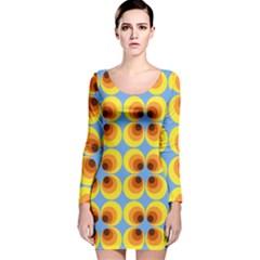 Zappwaits Retro 3 Long Sleeve Velvet Bodycon Dress by zappwaits
