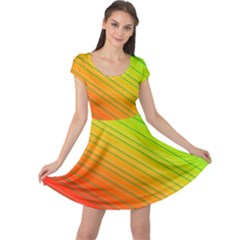 Orange Green Gradient Hunter Cap Sleeve Dress