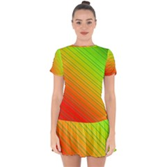 Orange Green Gradient Hunter Drop Hem Mini Chiffon Dress by Jojostore