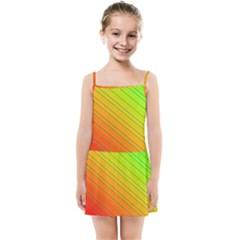 Orange Green Gradient Hunter Kids  Summer Sun Dress