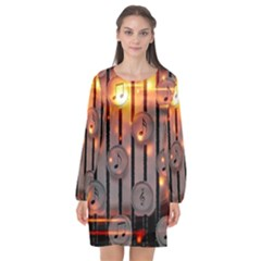 Music Notes Sound Musical Audio Long Sleeve Chiffon Shift Dress