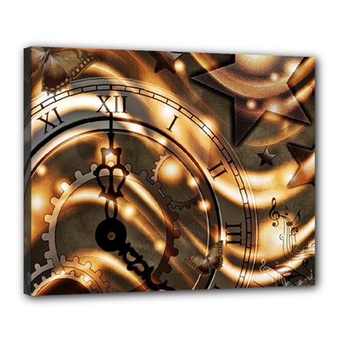 Time Clock Star Hour Day Night Canvas 20  X 16  (stretched)