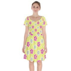 Traditional Patterns Plum Short Sleeve Bardot Dress