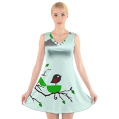 Birds Tree Animal Black Tree Green V Neck Sleeveless Dress
