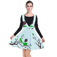 Birds Tree Animal Black Tree Green Plunge Pinafore Dress