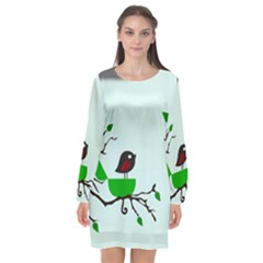 Birds Tree Animal Black Tree Green Long Sleeve Chiffon Shift Dress