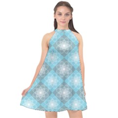 White Light Blue Gray Tile Halter Neckline Chiffon Dress  by AnjaniArt