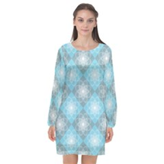 White Light Blue Gray Tile Long Sleeve Chiffon Shift Dress
