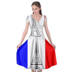 Eiffel Tower France Flag Tower Cap Sleeve Wrap Front Dress
