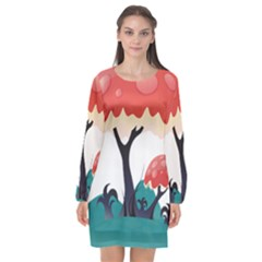 Tree Art Trunk Artwork Cartoon Long Sleeve Chiffon Shift Dress