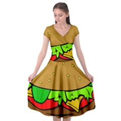 Hamburger Cheeseburger Fast Food Cap Sleeve Wrap Front Dress