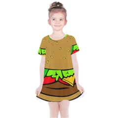 Hamburger Cheeseburger Fast Food Kids  Simple Cotton Dress by Sudhe