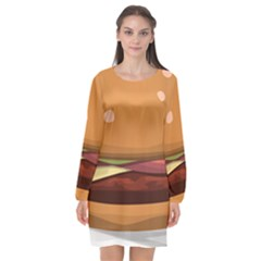 Hamburger Cheeseburger Burger Lunch Long Sleeve Chiffon Shift Dress
