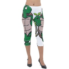 Amphibian Animal Cartoon Reptile Lightweight Velour Capri Leggings  by Sudhe