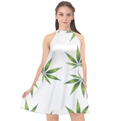 Cannabis Curative Cut Out Drug Halter Neckline Chiffon Dress