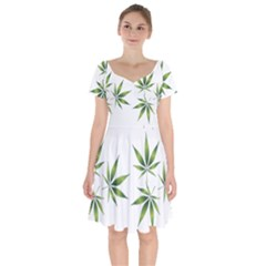 Cannabis Curative Cut Out Drug Short Sleeve Bardot Dress