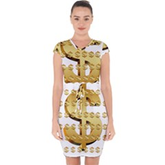 Dollar Money Gold Finance Sign Capsleeve Drawstring Dress  by Mariart