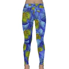 Flowers Pansy Background Purple Classic Yoga Leggings by Mariart