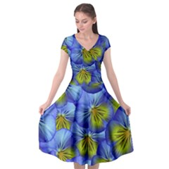 Flowers Pansy Background Purple Cap Sleeve Wrap Front Dress by Mariart
