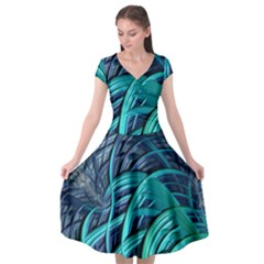 Oceanic Fractal Turquoise Blue Cap Sleeve Wrap Front Dress by AnjaniArt
