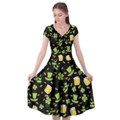 St Patricks Day Pattern Cap Sleeve Wrap Front Dress by Valentinaart