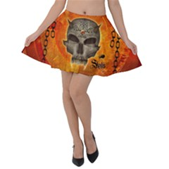 Awesome Skull With Celtic Knot With Fire On The Background Velvet Skater Skirt by FantasyWorld7
