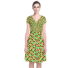 Back To The 80s Short Sleeve Front Wrap Dress