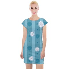Gardenia Flowers White Blue Cap Sleeve Bodycon Dress