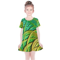 Patterns Green Yellow String Kids  Simple Cotton Dress