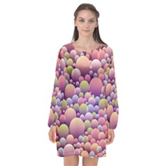 Abstract Background Circle Bubbles Long Sleeve Chiffon Shift Dress