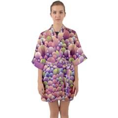 Abstract Background Circle Bubbles Quarter Sleeve Kimono Robe