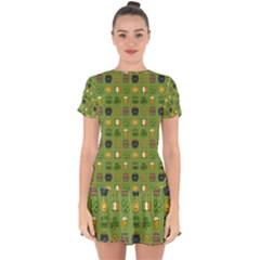 St Patricks Day Pattern Drop Hem Mini Chiffon Dress by Valentinaart