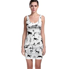 Petroglyph Runic Cavemen Nordic Black Paleo Drawings Pattern Bodycon Dress by snek