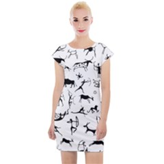 Petroglyph Runic Cavemen Nordic Black Paleo Drawings Pattern Cap Sleeve Bodycon Dress by snek