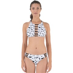 Petroglyph Runic Cavemen Nordic Black Paleo Drawings Pattern Perfectly Cut Out Bikini Set by snek
