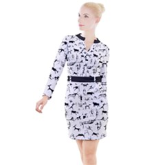 Petroglyph Runic Cavemen Nordic Black Paleo Drawings Pattern Button Long Sleeve Dress by snek