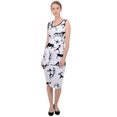 Petroglyph Runic Cavemen Nordic Black Paleo Drawings Pattern Sleeveless Pencil Dress by snek