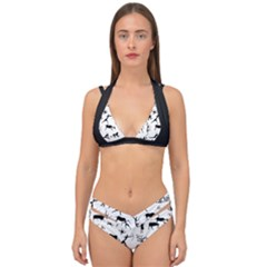 Petroglyph Runic Cavemen Nordic Black Paleo Drawings Pattern Double Strap Halter Bikini Set by snek