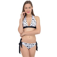 Petroglyph Runic Cavemen Nordic Black Paleo Drawings Pattern Tie It Up Bikini Set by snek