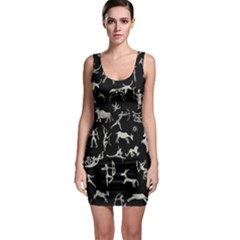 Petroglyph Nordic Beige And Black Background Petroglyph Nordic Beige And Black Background Bodycon Dress by snek