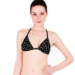 Petroglyph Nordic Beige And Black Background Petroglyph Nordic Beige And Black Background Bikini Top by snek
