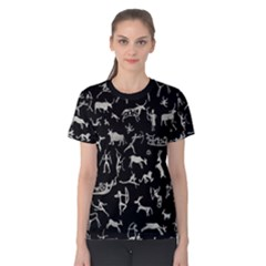 Petroglyph Nordic Beige And Black Background Petroglyph Nordic Beige And Black Background Women s Cotton Tee by snek