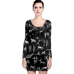 Petroglyph Nordic Beige And Black Background Petroglyph Nordic Beige And Black Background Long Sleeve Bodycon Dress by snek