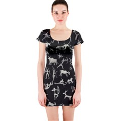 Petroglyph Nordic Beige And Black Background Petroglyph Nordic Beige And Black Background Short Sleeve Bodycon Dress by snek