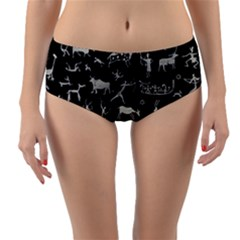 Petroglyph Nordic Beige And Black Background Petroglyph Nordic Beige And Black Background Reversible Mid Waist Bikini Bottoms by snek
