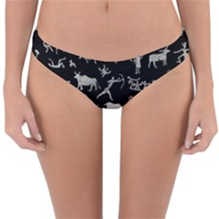 Petroglyph Nordic Beige And Black Background Petroglyph Nordic Beige And Black Background Reversible Hipster Bikini Bottoms by snek